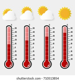 illustration of red thermometer measuring heat with sun icons different levels. paper art concept design and vector.