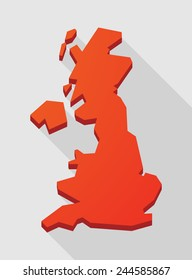 Illustration of a red  United Kingdom map