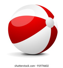 illustration of a red and white beach ball, eps 8 vector