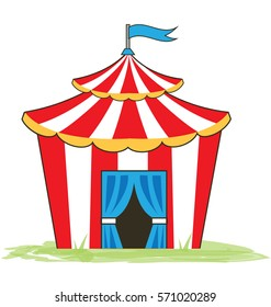 Illustration of red and white circus tent.