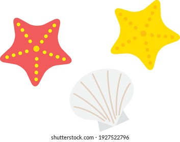 Illustration of red and yellow starfishes and a white shellfish