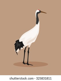 Illustration of red-crowned crane on a brown background