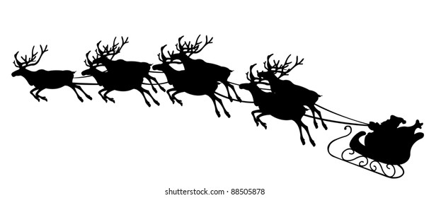 illustration of reindeer pulling Santa`s sled
