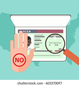 Illustration of the rejection in the US working visa to the foreign worker. Hand showing the failure on the background passport. Vector concept.