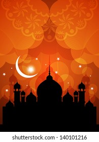 illustration of religious eid background design with mosque.