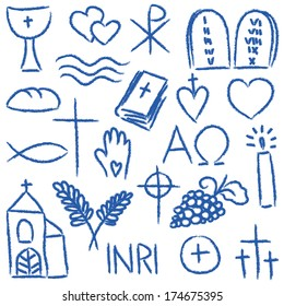 Illustration of religious hand-drawn symbols - chalky style