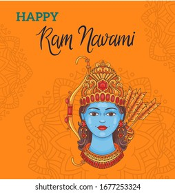 Illustration Of Religious Happy Ram Navami Background. Happy Ram Navami poster of Indian holiday