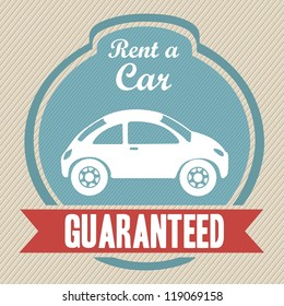 Illustration of rent a car, Vintage label illustration, vector illustration