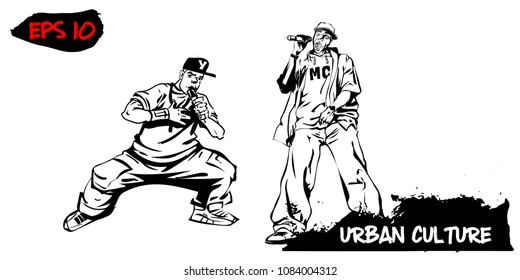 Illustration with representatives of Urban Culture. Two rappers with microphones isolated on white background. Extreme theme modern print