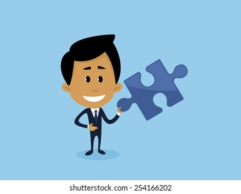 Illustration representing a businessman being happy for finding the best business solution.