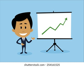 Illustration representing a businessman explaining the best business growth strategies.