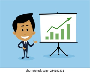Illustration representing a businessman explaining how to ensure business growth and development.