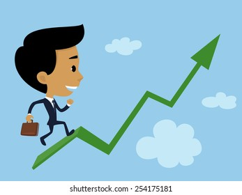 Illustration representing a businessman on his way to a successful business.