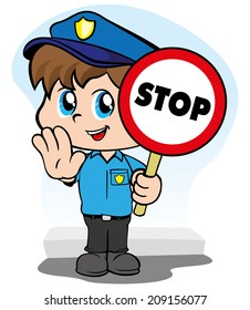Illustration representing a child police uniform with a sign signaling to stop