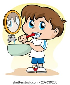 Illustration representing a child taking care of her nipple hygiene brushing teeth