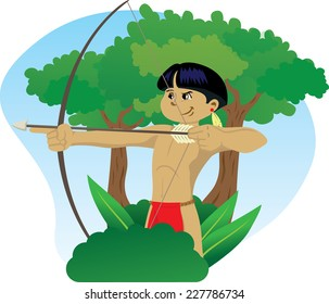 Illustration representing Indigenous Child of Brazilian culture, wielding a bow and arrow in the forest of Brazil.