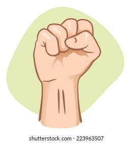 Illustration representing a person with a fist, showing a clenched or closed fist punch.