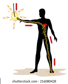 Illustration representing a person receiving an electric discharge in a high-voltage grid due to an accident at work. Ideal for catalogs, newsletters and first aid guides