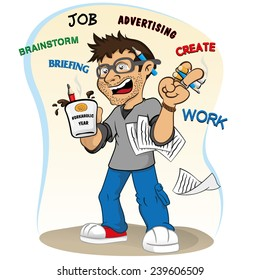 Illustration representing a professional mascot workaholic stressed and accelerated.