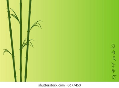 The illustration representing the stylized bamboo and abstract hieroglyphs on a green background