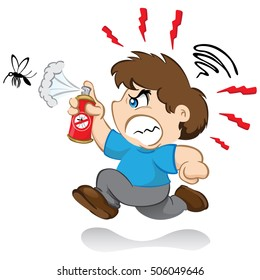 Illustration represents a character yuyu, children's mascot boy fighting the mosquito that transmits the dengue virus or Zika with insecticide spray. nervous running after mosquito
