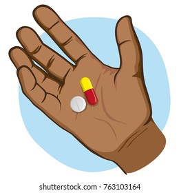 Illustration represents an open human hand with medicines in the palm of the sample, afro descent. Ideal for catalogs of institutional and medical material