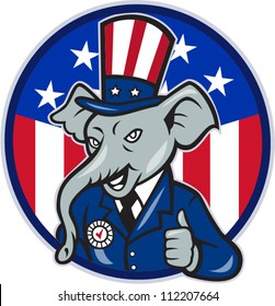 Illustration of a republican elephant mascot of the republican wearing hat and suit thumbs up set inside American stars and stripes flag circle done in cartoon style.