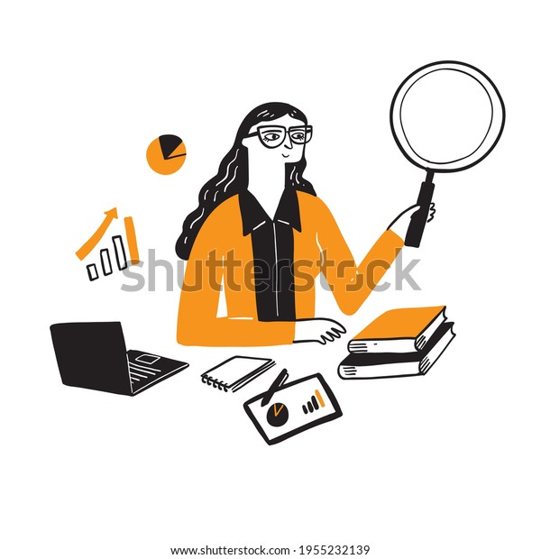 Illustration of a research businessman, Hand drawn Vector Illustration doodle style