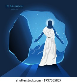 An illustration of Resurrection Of Jesus Christ Walked Out of A Tomb