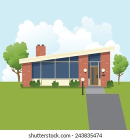 An illustration of a retro 1960s style, mid-century modern, suburban bungalow house.