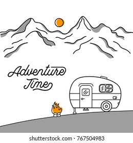 Illustration with a retro camper on the background of mountains. Line style. Logo.