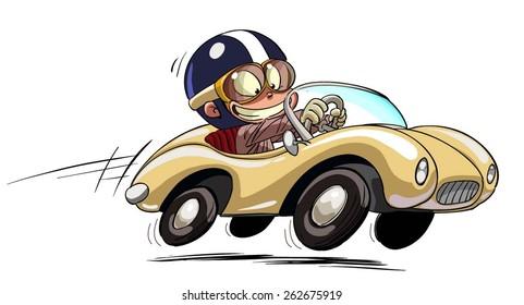 illustration of a retro car racer