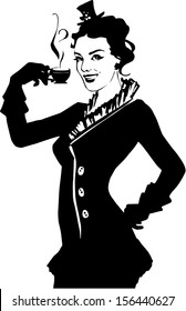 Illustration of retro girl with coffee