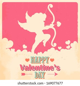 illustration of retro love background for happy valentines day card