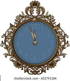 Illustration of retro midnight clock