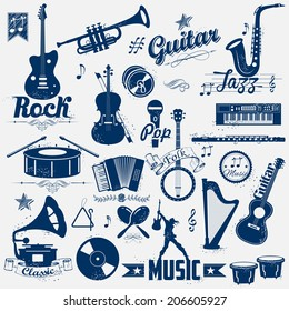 illustration of retro music label in vintage look