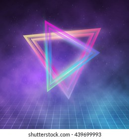 Illustration of Retro Party 1980 Neon Poster. Retro Disco 80s Background with Triangles, Flares, Partickles