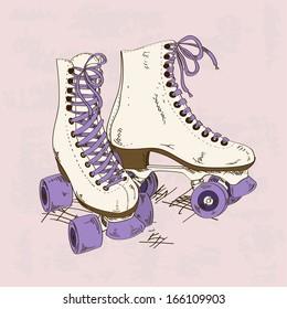 Illustration with retro roller skates on a grunge background