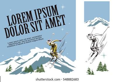 Illustration in retro style of advertising. Presentation template. Winter fun. Skier woman.