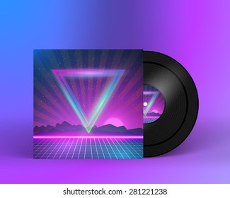 Illustration of Retro Vinyl Record 1980s Style Cover with Neon Lights and Abstract Triangles. Music Album Cover Template