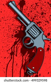 Illustration of the revolver on abstract bloody splashes background