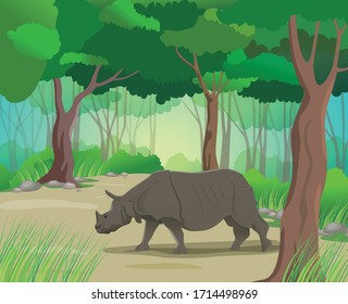 Illustration of a Rhino roaming in a Wildlife Sanctuary