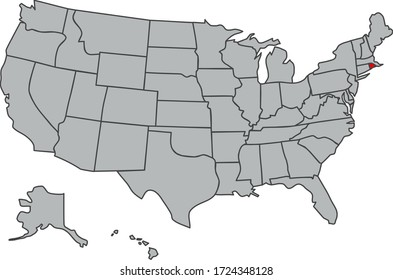Illustration of Rhode Island. Vector map of the USA in gray color. Contours of the United States of America. Territory of the US isolated in red. Economy, geography, web, article, news, study