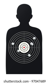 illustration of rifle target game on a white background