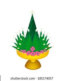 An Illustration of Rituals Cone from Banana Leaf and Jasmine Decorated on Tray with Pedestal for Paying Respect to Teachers or Elder People.