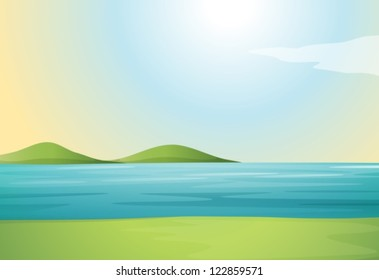 Illustration of a river and hills