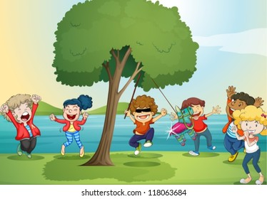 illustration of a river and kids in a beautiful nature