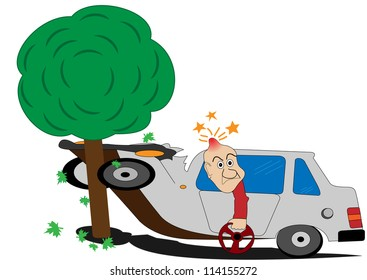 Illustration of a road accident and the man with the wheel