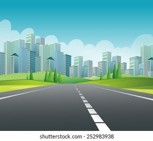 Illustration of a road to the city