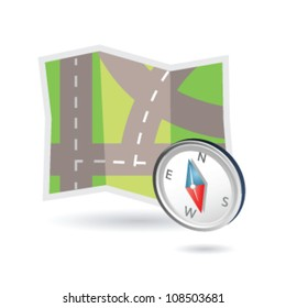 Illustration of road map and compass may be used as icon map systems